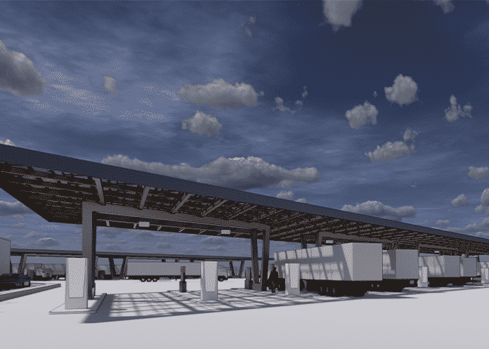 """First electric-only """"Megawatt E-Truck Stop"""" will be built in California."""